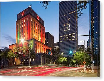Twilight Photograph Of Houston City Hall Astros Baseball World Series 2017 - Downtown Houston Canvas Print
