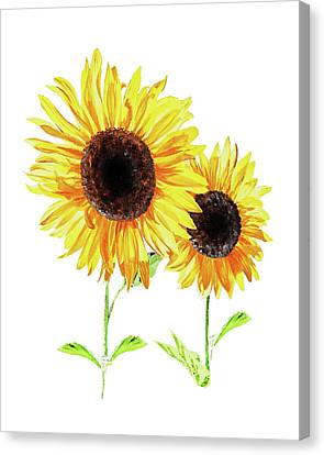 Two Sunny Sunflowers Watercolor Canvas Print
