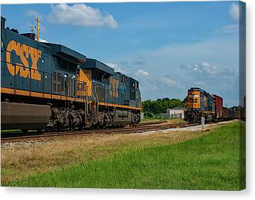 Canvas Print featuring the photograph Two Trains Pass 21 by Joseph C Hinson Photography