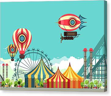 Vector Illustration Carnival Circus Canvas Print by Marrishuanna