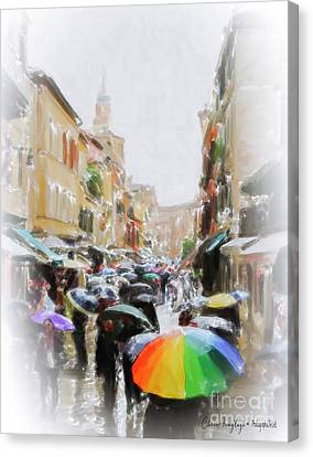 Venice In The Rain Canvas Print
