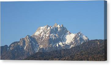 Canvas Print featuring the photograph View From My Art Studio - Pilatus I - April 2019 by Manuel Sueess