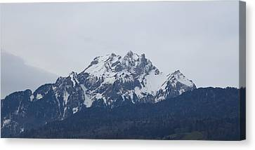 Canvas Print featuring the photograph View From My Art Studio - Pilatus - March 2018 by Manuel Sueess