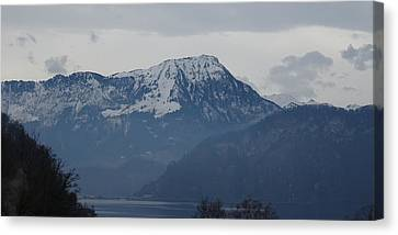 Canvas Print featuring the photograph View From My Art Studio - Stanserhorn - March 2018 by Manuel Sueess