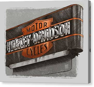 Vintage Motorcycle Shop Canvas Print