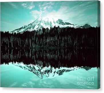 Vintage Mount Rainier From Reflection Lake Early 1900 Era... Canvas Print
