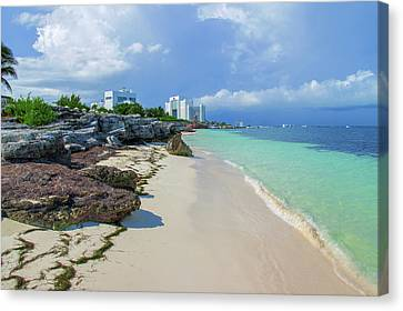 White Sandy Beach Of Cancun Canvas Print