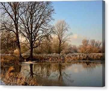 Winter Landscape Scene Near Carolinehurst L B Canvas Print
