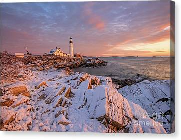 Winter Sunrise At Portland Head Light Canvas Print