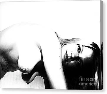 Woman By Portrait  Canvas Print by ManDig Studios