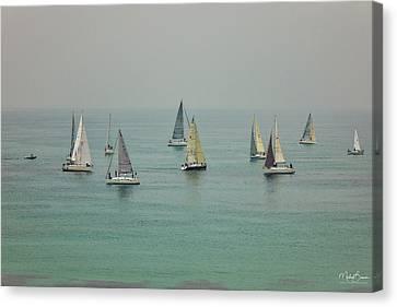 Yachts In Haze Canvas Print
