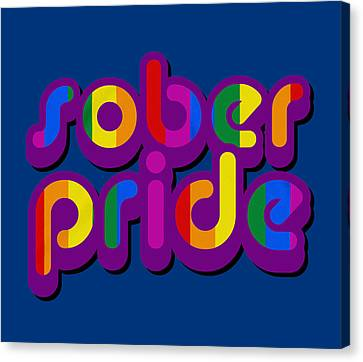 Sober AF Rainbow Typography White Wall Art Canvas Print 18X24 In