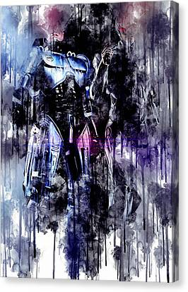 ROBOCOP  Hand Painted   Acrylic on Stretched Canvas   11\u201d x 18\u201d