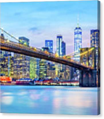 Brooklyn Bridge And The Lower Manhattan Skyline Canvas Print by Mihai Andritoiu