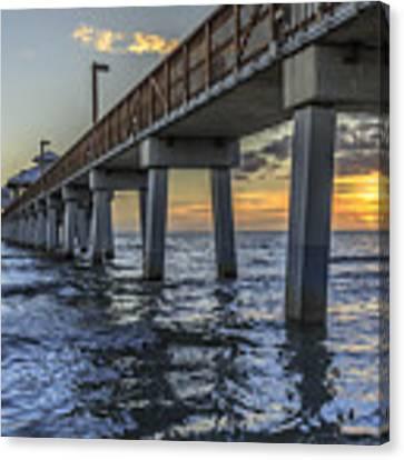 Fort Myers Beach Fishing Pier Canvas Print by Edward Fielding