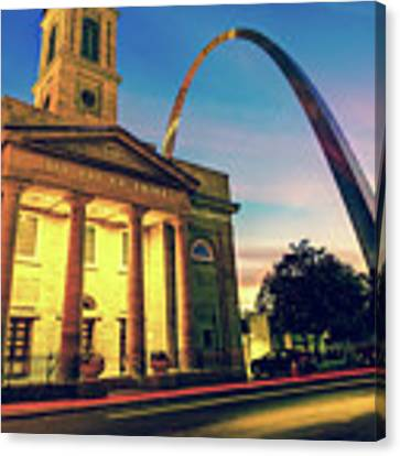 Saint Louis Arch And Cathedral At Dawn Canvas Print by Gregory Ballos