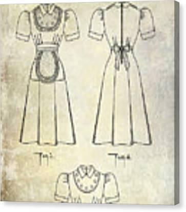 1940 Waitress Uniform Patent Canvas Print