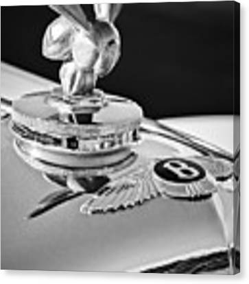 1954 Bentley R-type Hood Ornament -0493bw Canvas Print by Jill Reger