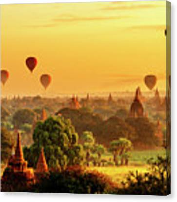 Bagan Pagodas And Hot Air Balloon Canvas Print by Pradeep Raja PRINTS
