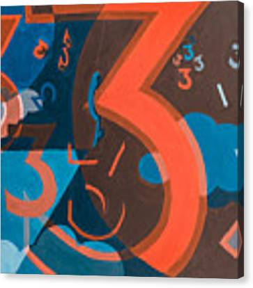 3 In Blue And Orange Canvas Print by Break The Silhouette