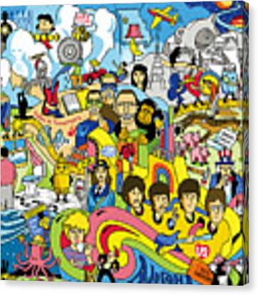 70 Illustrated Beatles' Song Titles Canvas Print by Ron Magnes