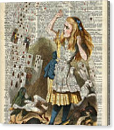 Alice In The Wonderland On A Vintage Dictionary Book Page Canvas Print