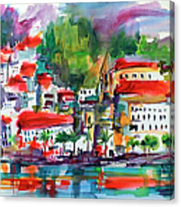 Amalfi Coast Italy Expressive Watercolor Canvas Print by Ginette Callaway