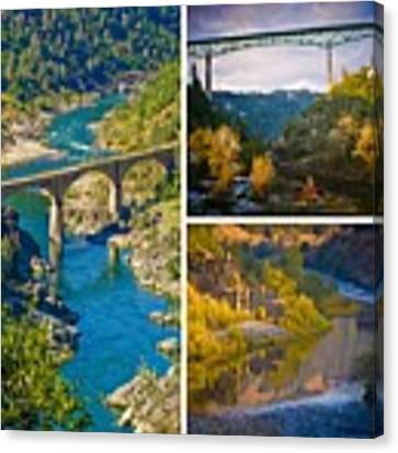 American River Triptych 3 Canvas Print by Sherri Meyer