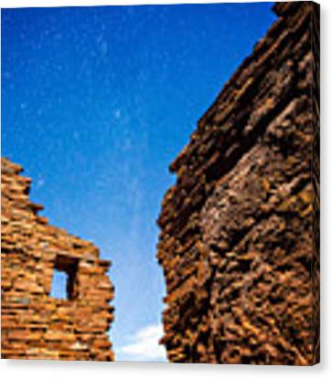 Ancient Native American Pueblo Ruins And Stars At Night Canvas Print by Bryan Mullennix