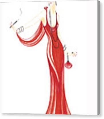 Art Deco Lady - Daphne Canvas Print by Di Kaye