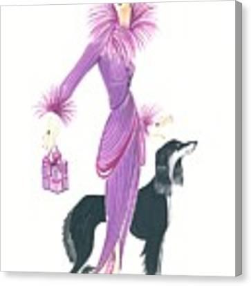 Art Deco Lady - Esta And Ebony Canvas Print by Di Kaye