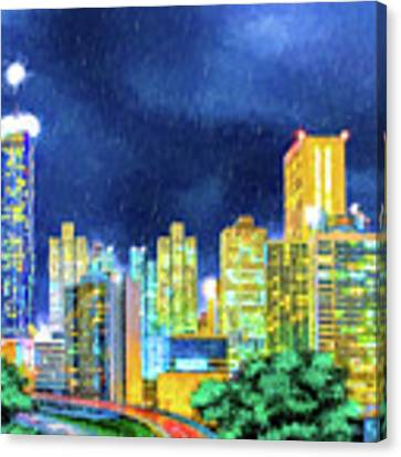Atlanta Skyline At Night Canvas Print by Mark Tisdale