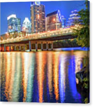 Austin Texas Skyline Night Reflections Canvas Print by Gregory Ballos