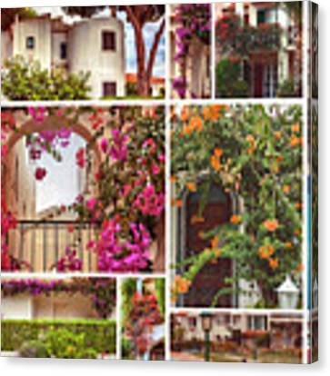autumn houses,  gardens and balconies in Portugal Canvas Print by Ariadna De Raadt