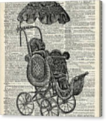 Baby Pram Over A Vintage Dictionary Page Canvas Print by Anna W
