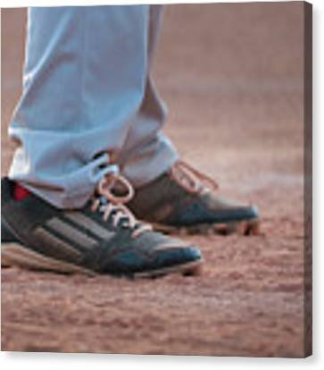 Baseball Cleats In The Dirt Canvas Print by Kelly Hazel