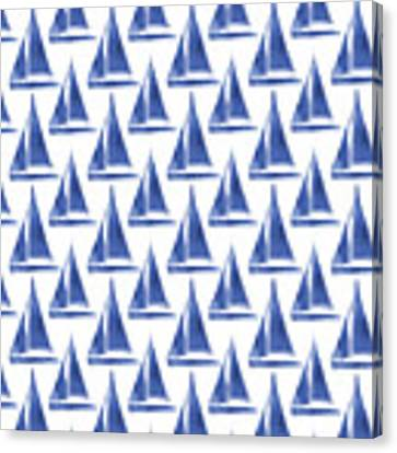 Blue And White Sailboats Pattern- Art By Linda Woods Canvas Print