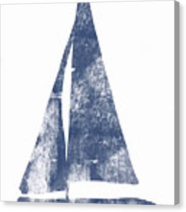 Blue Sail Boat- Art By Linda Woods Canvas Print