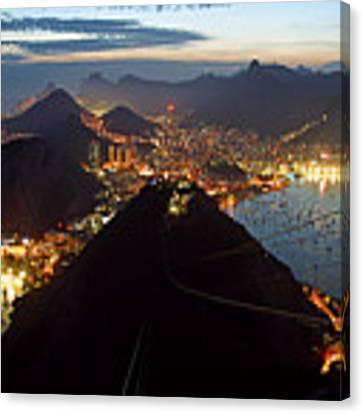 Brasil,rio De Janeiro,pao De Acucar,viewpoint,panoramic View,copacabana At Night Canvas Print by Juergen Held