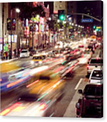 Busy Hollywood Boulevard At Night Canvas Print by Bryan Mullennix