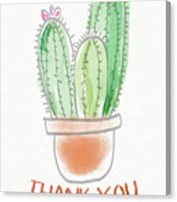 Cactus Thank You - Art By Linda Woods Canvas Print by Linda Woods