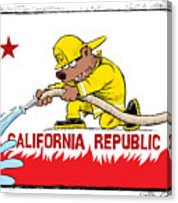 California Firefighter Flag Canvas Print by Daryl Cagle
