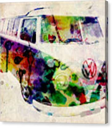Camper Van Urban Art Canvas Print