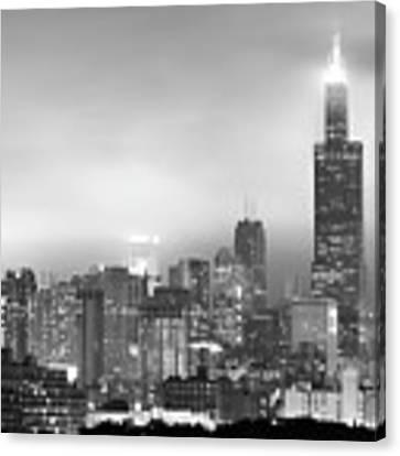 Chicago Skyline Black And White - Illinois - Usa Canvas Print