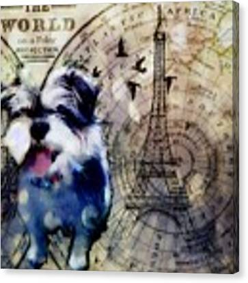 City Girl Goes To Paris Canvas Print by Delight Worthyn