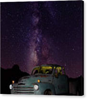 Classic Truck Under The Milky Way Canvas Print by James Sage