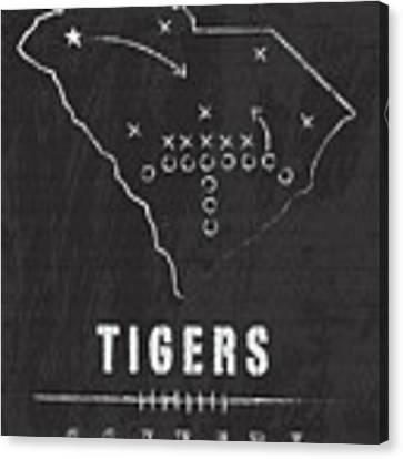 Clemson Tigers / Ncaa College Football Art / South Carolina Canvas Print by Damon Gray