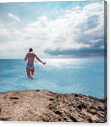 Cliff Jumping Canvas Print by Break The Silhouette