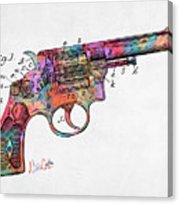 Colorful 1896 Wesson Revolver Patent Canvas Print by Nikki Marie Smith