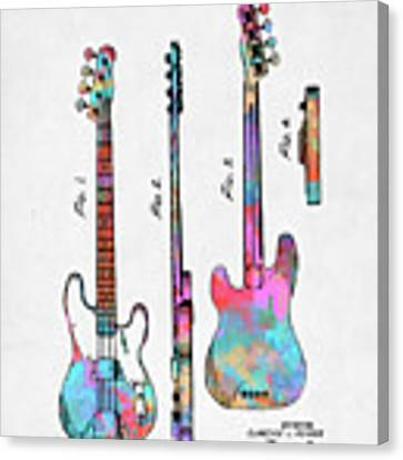 Colorful 1953 Fender Bass Guitar Patent Artwork Canvas Print by Nikki Marie Smith